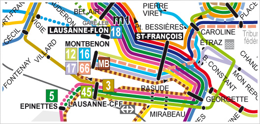 Instructional Design example | The M2 (Lausanne's metro) schema